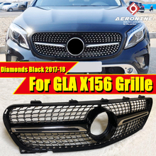 X156 Diamonds grille grill GLA Class GLA45 look Black For MercedesMB GLA180 GLA200 GLA250 Front grills without sign 2017-18