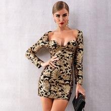 Женское облегающее платье с длинным рукавом блестками и цветами