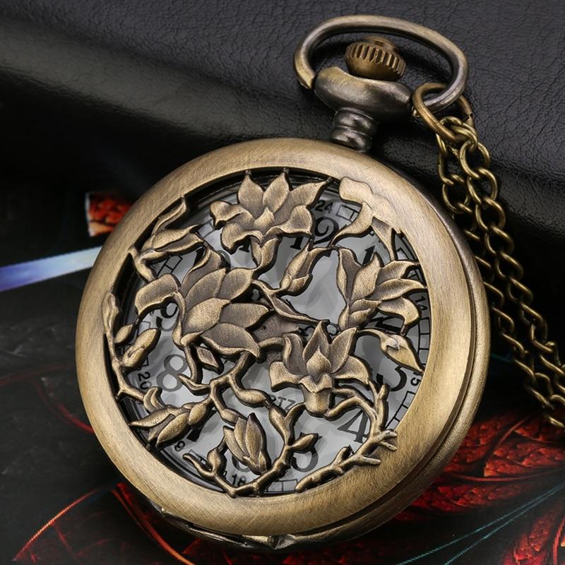 Bronze Hollow Flowers Floral Rattan Pocket Watch Analog Quartz Necklace Pendant Retro Sweater Chain Christmas Gift For Men Women