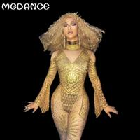 New Women Gold Rhinestone Jumpsuit Party Crystal Rompers Sexy Egyptian Goddess Singer Performance Wear Pole Dancing Costumes