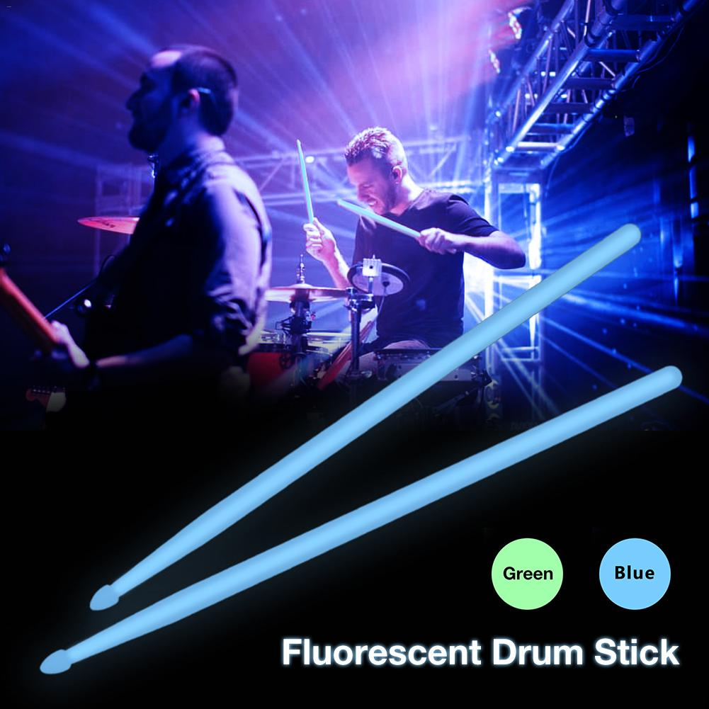 1 Pair Lightweight Nylon 5A Drumsticks Night Fluorescence Glow In Dark Drum Sticks For Stage Night Performances