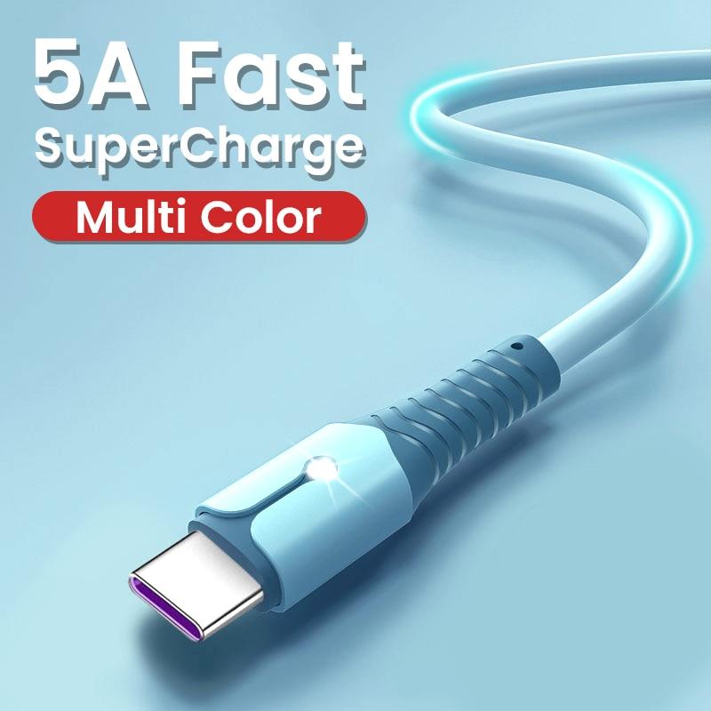 5A Flüssigkeit Silikon USB Typ C Kabel Für Huawei Mate 40 Pro P40 Pro Super Ladung Typ C Kabel USB C Daten Kabel Für Samsung S10