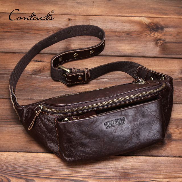 CONTACT'S Genuine Leather men waist bag for iPhone vintage Travel Fanny Pack with card holder male Belt Bag zipper bum bag 2019 Men messenger style bags