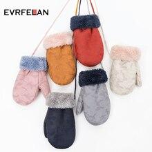 Evrfelan, новые зимние теплые толстые перчатки, Детские одноцветные Перчатки, варежки для девочек, перчатки для мальчиков, уличные теплые веревочные варежки для детей