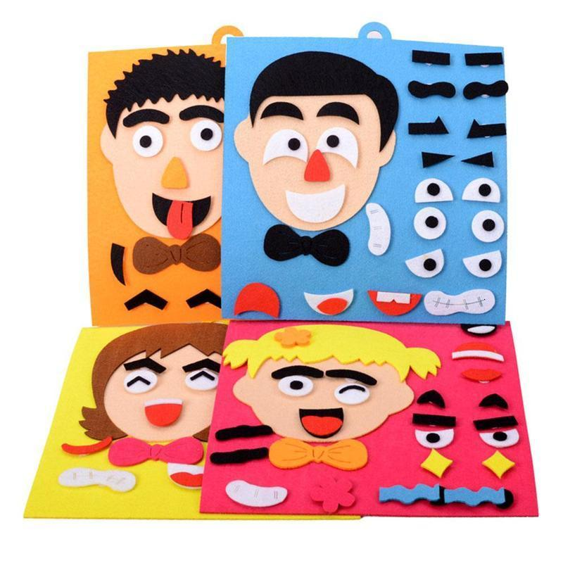 DIY 3D Cartoon Facial Expression Stickers Puzzle Toys Emotion Learning Educational Toys For Children Kids Art Drawing Craft Kit