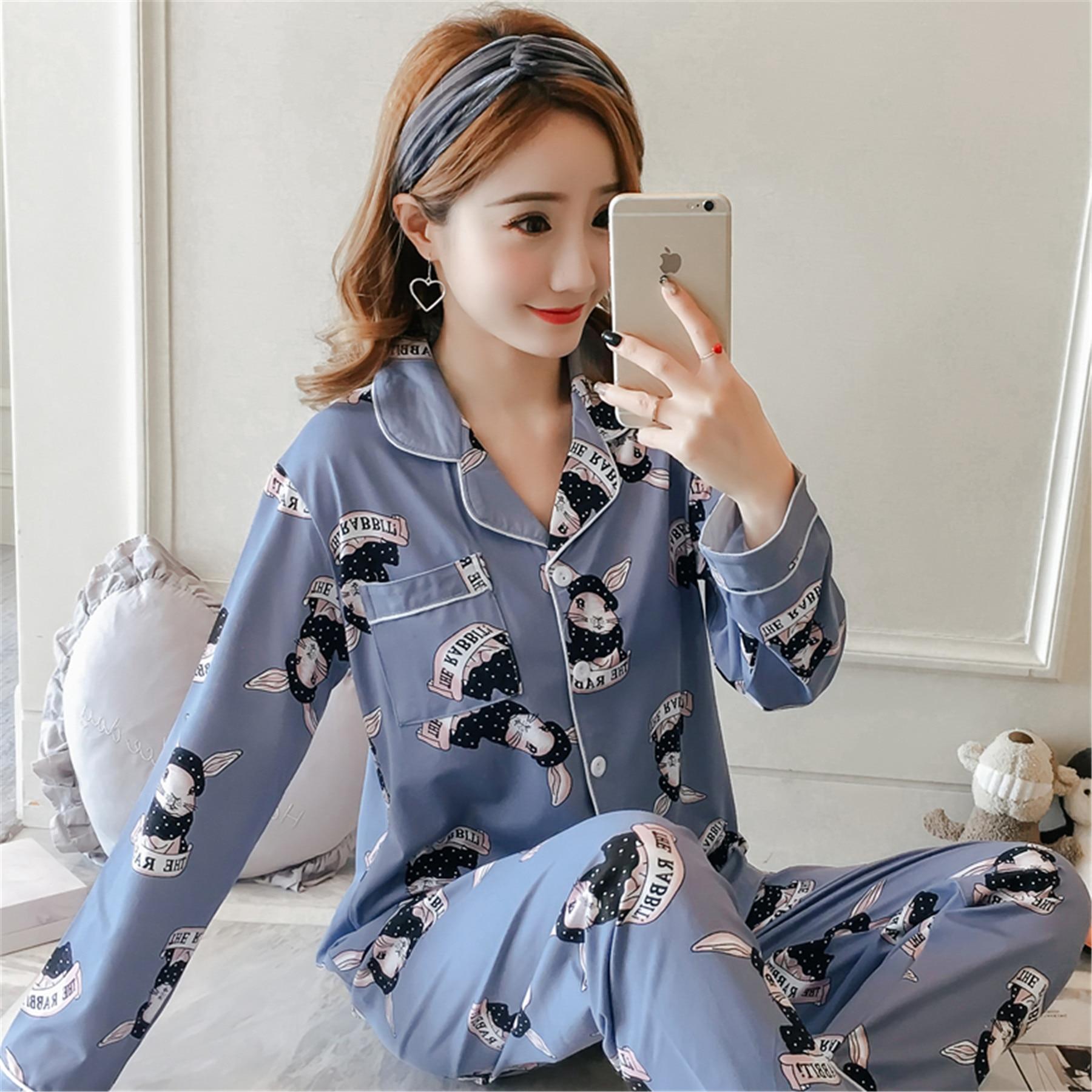 [Jun Xin] New Style 1016 # Zhen Zhu Tu Cardigan 200g Qmilch Long Sleeve Pajamas Suit 2 Color M -Xxl