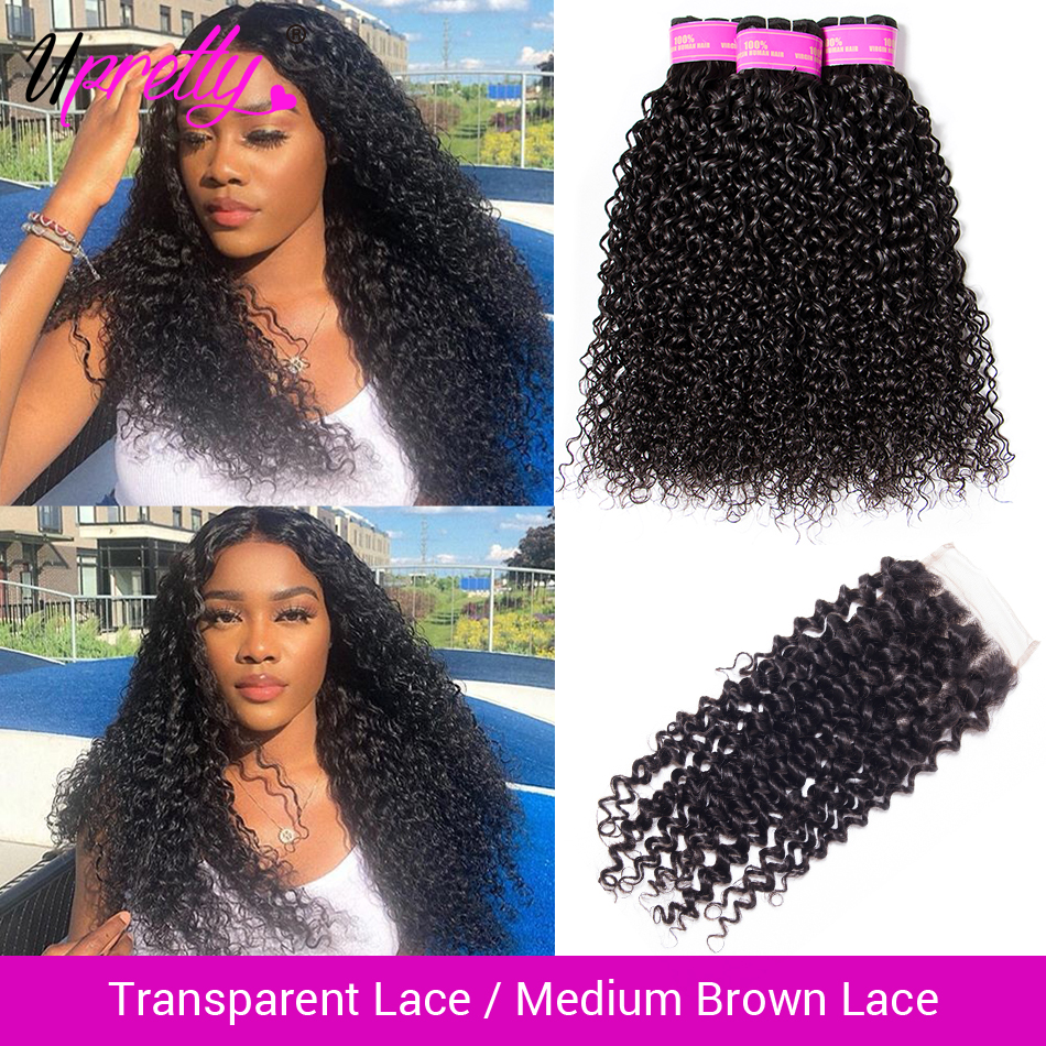 Upretty Curly-Bundles Closure Transparent Lace Malaysian with Hd Remy