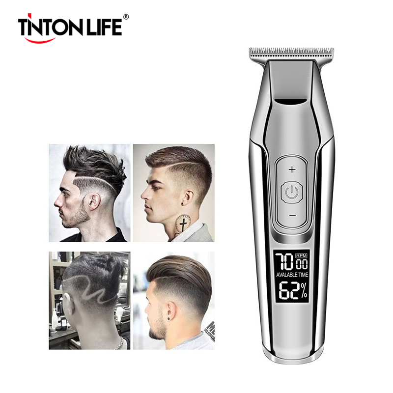 100-240V Professional Barber Hair Clipper LCD Display 0mm Baldheaded Beard Hair Trimmer Men DIY Cutter Electric Haircut Machine