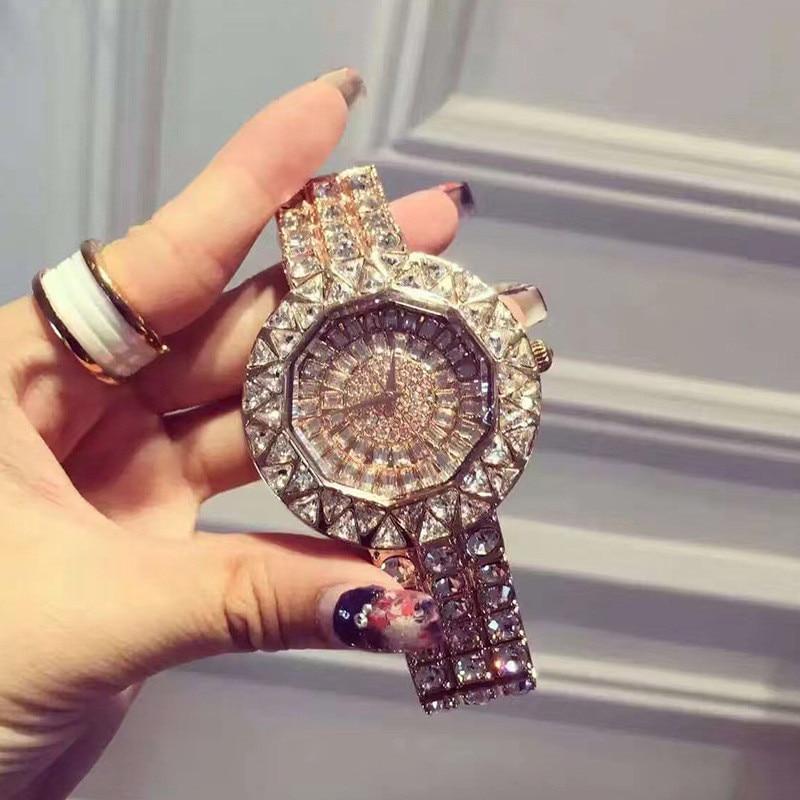 Ladies Watch With Full Diamond Luxury Women's watch Fashion Wristband Quartz watch Big Band Gifts For Women