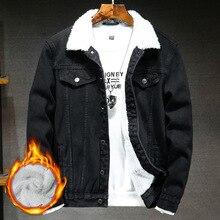 Denim Jacket Coat Velvet Spring-Plus Warm Men's Winter Fashion Casual Cloak Loose Slim