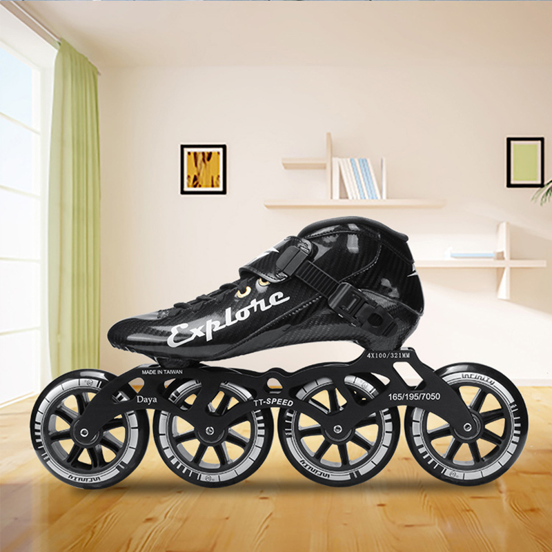 Carbon Fiber Speed Skates Shoes Adults Man Woman Inline Speed Skating Patines 4 Wheels 90mm 100mm 110mm Fibre Sports Sneakers