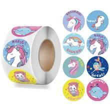 Ödül Sticker çocuklar için Mermaid Unicorn hayvan sevimli desen 500 adet/rulo 1 inç 8 tasarımlar okul öğretmen malzemeleri çocuk Sticker