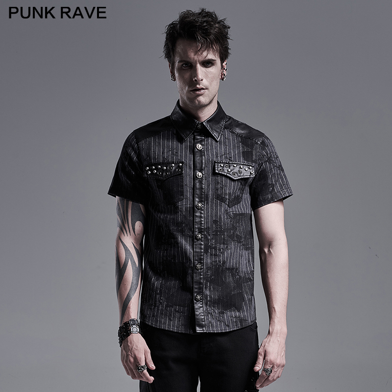 PUNK RAVE Men's Punk Daily Abstract Striped Printed Short Sleeve Shirt Skull Button Summer Casual Blouses Metal Nail Decoration