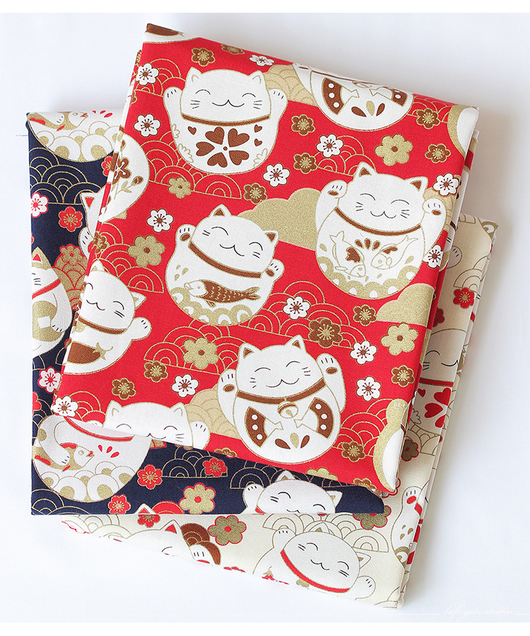 Черный красный хлопок вишневый цвет Бронзирующая ткань, бабочка кран Precut швейная ткань Лоскутная стеганая DIY японская ткань 4