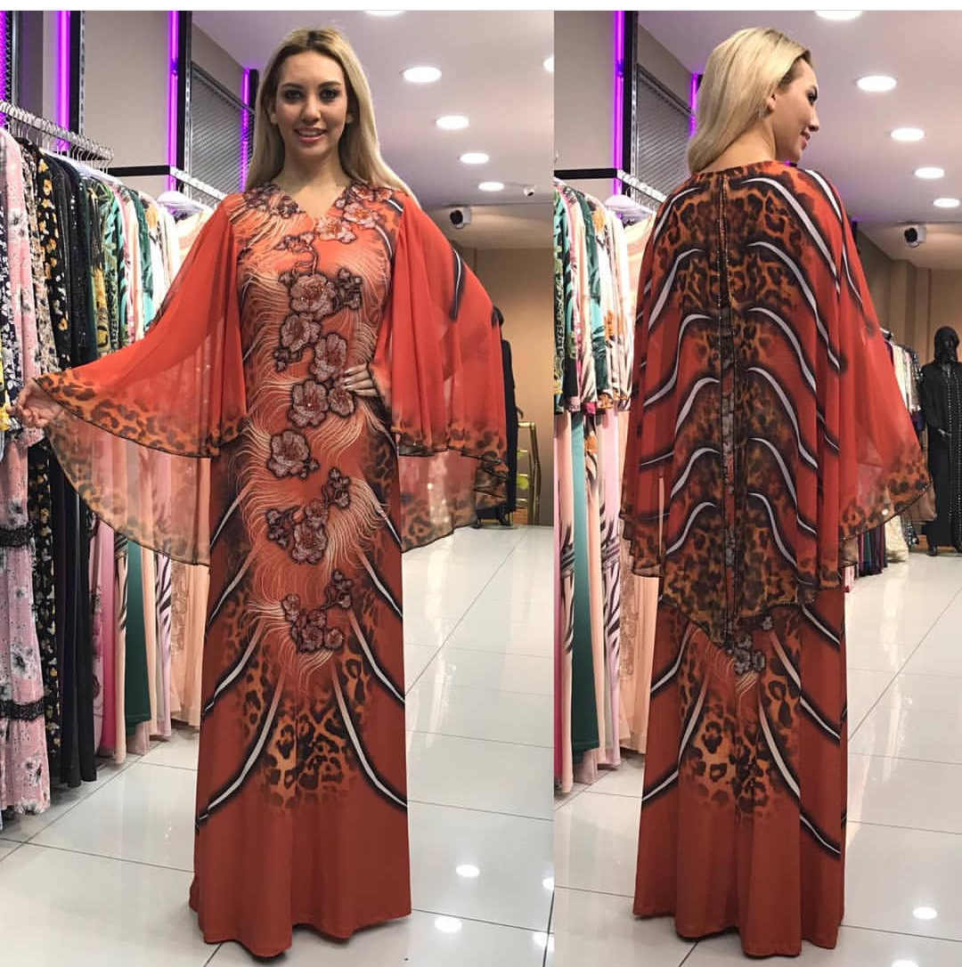 2019New Afrikanische Kleider für Frauen Dashiki Drucken Afrikanische Kleidung Bazin Riche Sexy Dünne Rüsche Hülse Lange Afrika Maxi Kleid Frau