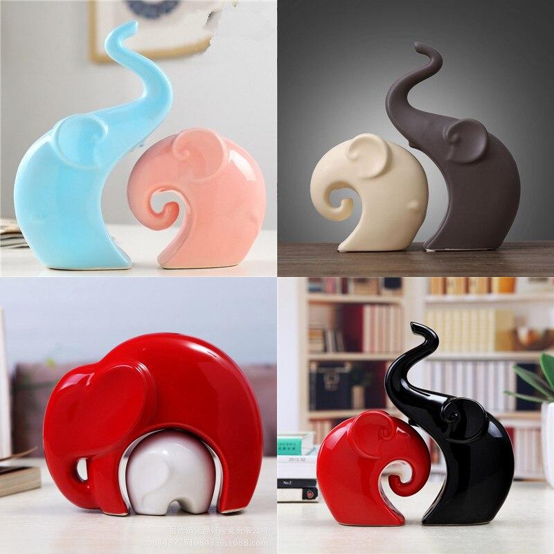 Nordic Ceramic Elephant Ornaments Home Porcelain Decorations Table Elephant Family Figurines Desk A Pairs of Elephant Miniatures