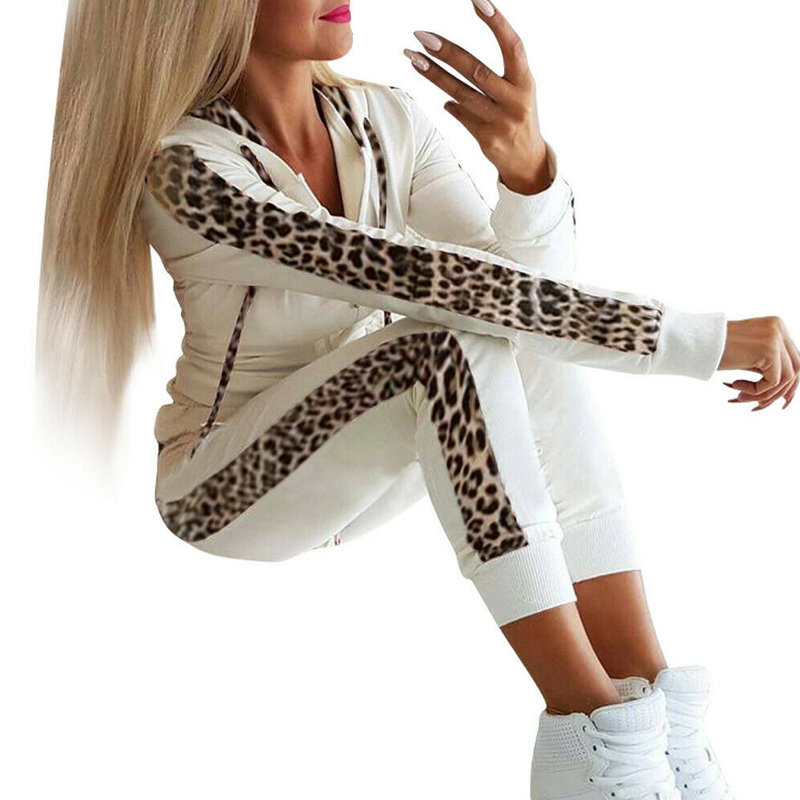 Fashion Casual 2Pcs Women Leopard Long Seleeve Hoodies Sports Tops Pants Tracksuit Sweatshirt Sweat Suit Jogging