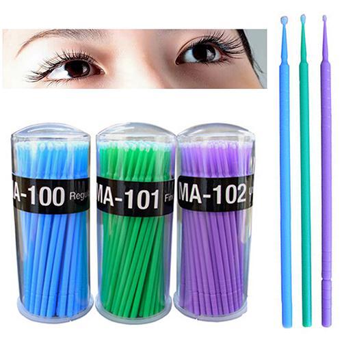 100 Pcs Small Disposable Eyelash Extension Micro Brush Applicators Mascara Cotton Swabs Disposable  Makeup Tool  Remove Cosmetic