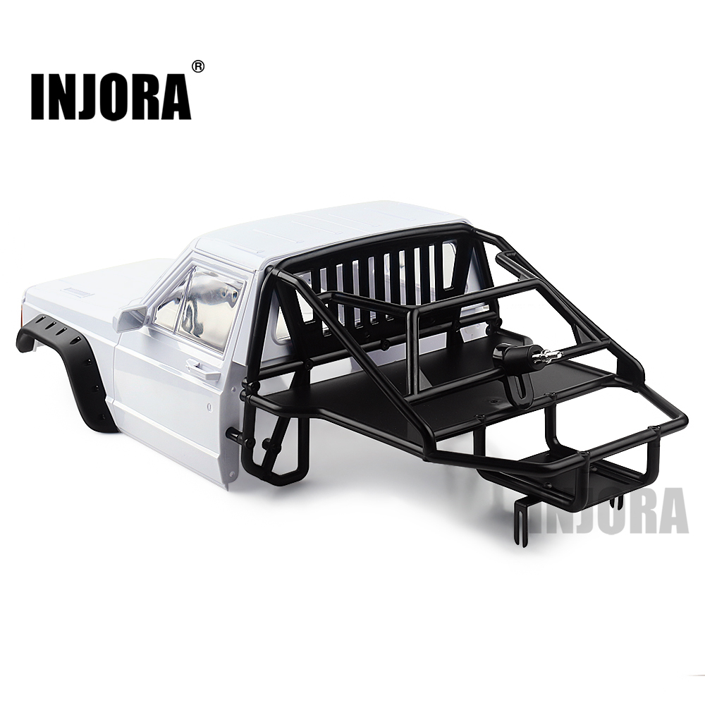 INJORA RC Car Cherokee Body Cab & Back-Half Cage for 1/10 RC Crawler Traxxas TRX4 Axial SCX10 90046 Redcat GEN 8 Scout II