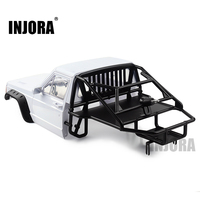 INJORA RC Car Cherokee Body Cab & Back Half Cage for 1/10 RC Crawler Traxxas TRX4 Axial SCX10 90046 Redcat GEN 8 Scout II