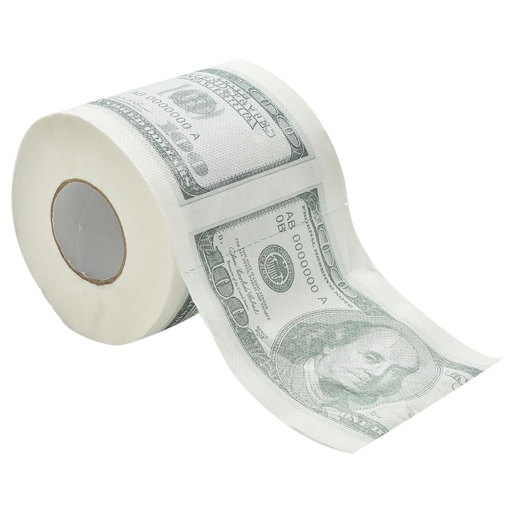 Funny America US Dollars Tissue Novelty 0 TP Money Roll Gag Gift One Hundred Dollar Bill Printed Toilet Paper