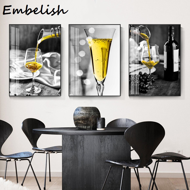 1 Pieces Black White Yellow Wine And Cup Modern Home Kitchen Decor Wall Posters For Living Room Pictures Hd Canvas Oil Paintings Painting Calligraphy Aliexpress