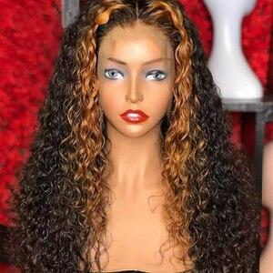 Profunda encaracolado 250 densidade frente do laço peruca de cabelo humano destaque cabelo colorido mel loira pré arrancado peruano dolago perucas