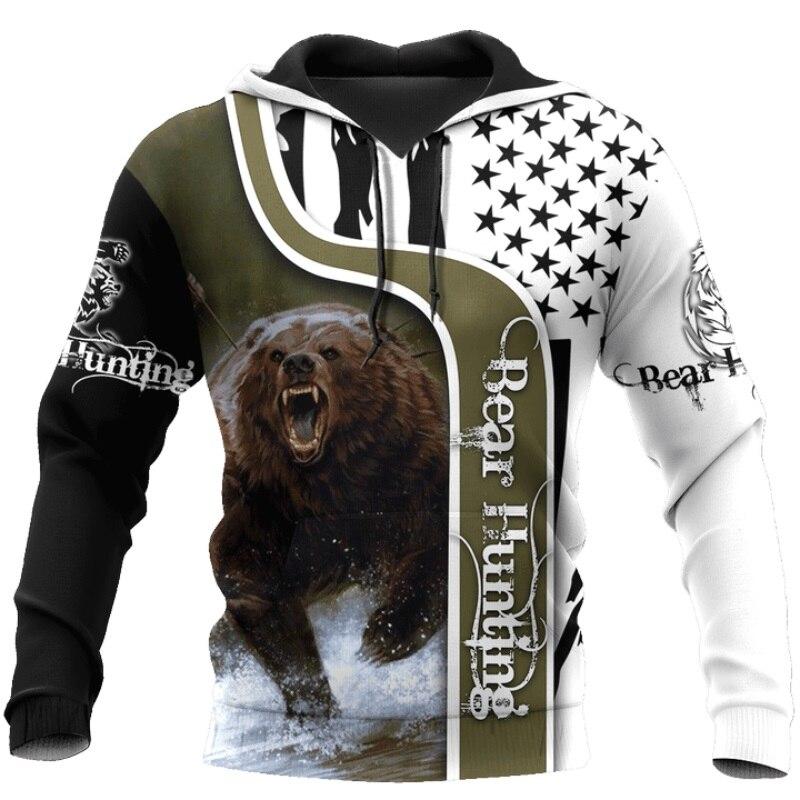 Liumaohua Bear Hunting 3D Printed Hoodies For Men And Women Harajuku Fashion Hooded Sweatshirt Autumn Casual Hoodie 0207