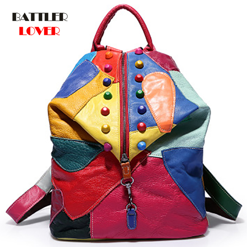 New Women Travel Bags Mix Color Rivets Lady Backpacks Rainbow Colorful Shoulder Bag Genuine Cow Leather Backpack Girl School Bag