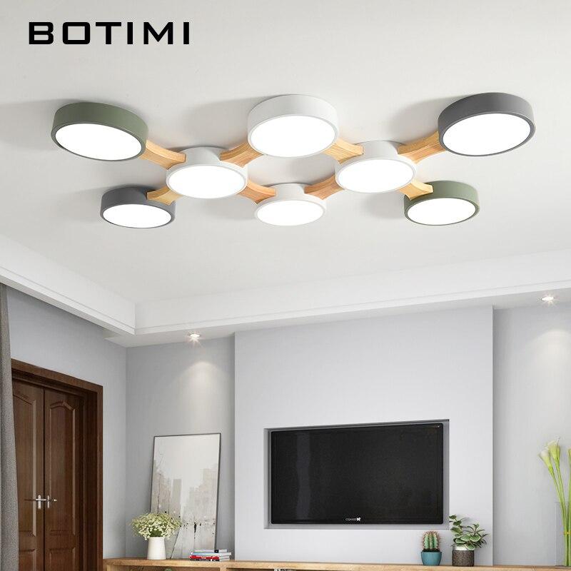 Светодиодный потолочный светильник BOTIMI 220 В, с круглым металлическим абажуром, для гостиной, современный потолочный светильник, деревянная