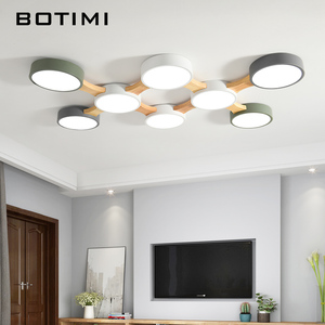 Image 1 - BOTIMI 220V LED Ceiling Lights With Round Metal Lampshade For Living Room Modern Surface Mounted Ceiling Light Wood Bedroom Lamp
