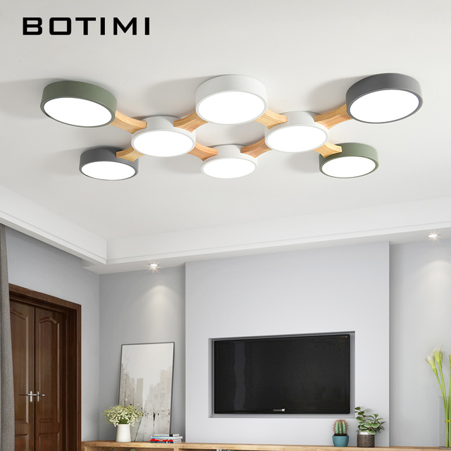 BOTIMI 220V LED Ceiling Lights With Round Metal Lampshade For Living Room Modern Surface Mounted Ceiling Light Wood Bedroom Lamp