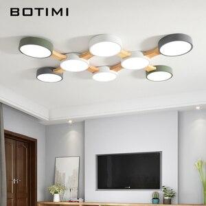 Image 1 - Botimi 220V Led Plafond Verlichting Met Ronde Metalen Lampenkap Voor Woonkamer Moderne Opbouw Plafond Licht Hout Slaapkamer lamp