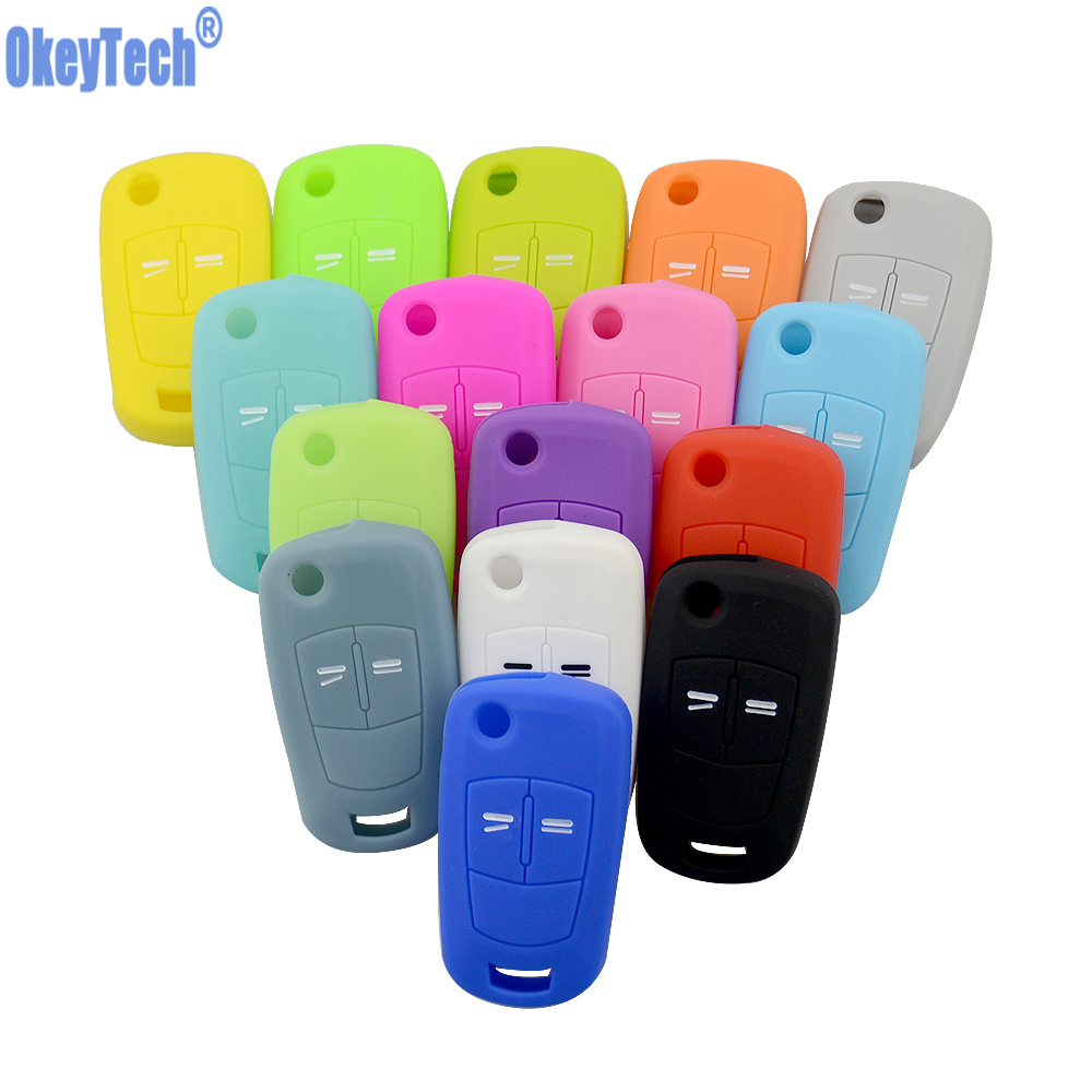 OkeyTech Silicone Key Cover 2 Buttons Flip Car Key Case For Vauxhall Opel Corsa Astra Vectra Signum Folding Keychain Remote Fob