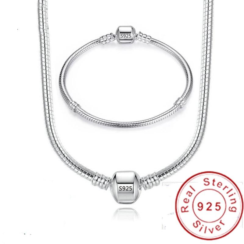 Handmade Original 925 Sterling Silver Necklace Bracelet Jewelry Set Bridal Party Sets Women Charm Bracelet Necklace Fine Jewelry