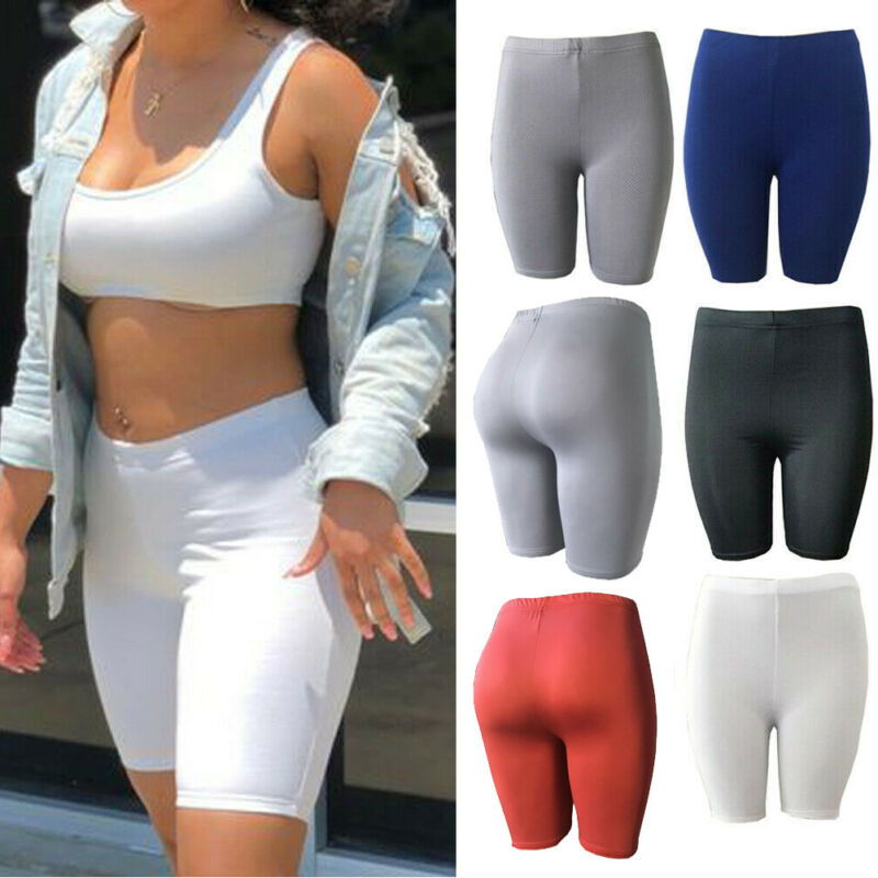Women Basic Leggings Stretch Biker Shorts Workout Yoga Mid Pants Fitness Sports