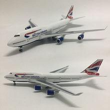 1/160 escala 50.5cm avião da companhia aérea britânica airbus 380 a380 boeing b747 modelo w luz e roda diecast plástico resina aviões