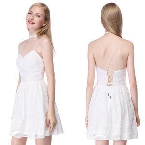 Image 4 - שושבינה שמלות 2020 לבן קצר תחרה קו שיבה הביתה מפלגה לנשף שמלות רעיוני נצנצים שמלות נשף בתוספת גודל