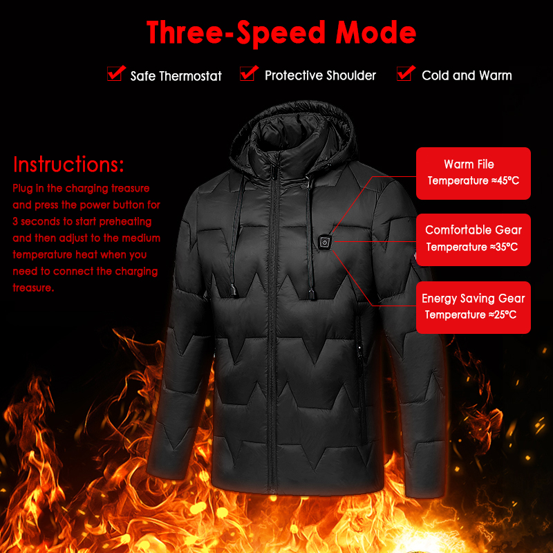 Outdoor Heated Vest Mens Women Heated Coat USB Electric Battery Long Sleeves Heating Hooded Jacket Warm Winter Thermal Clothing