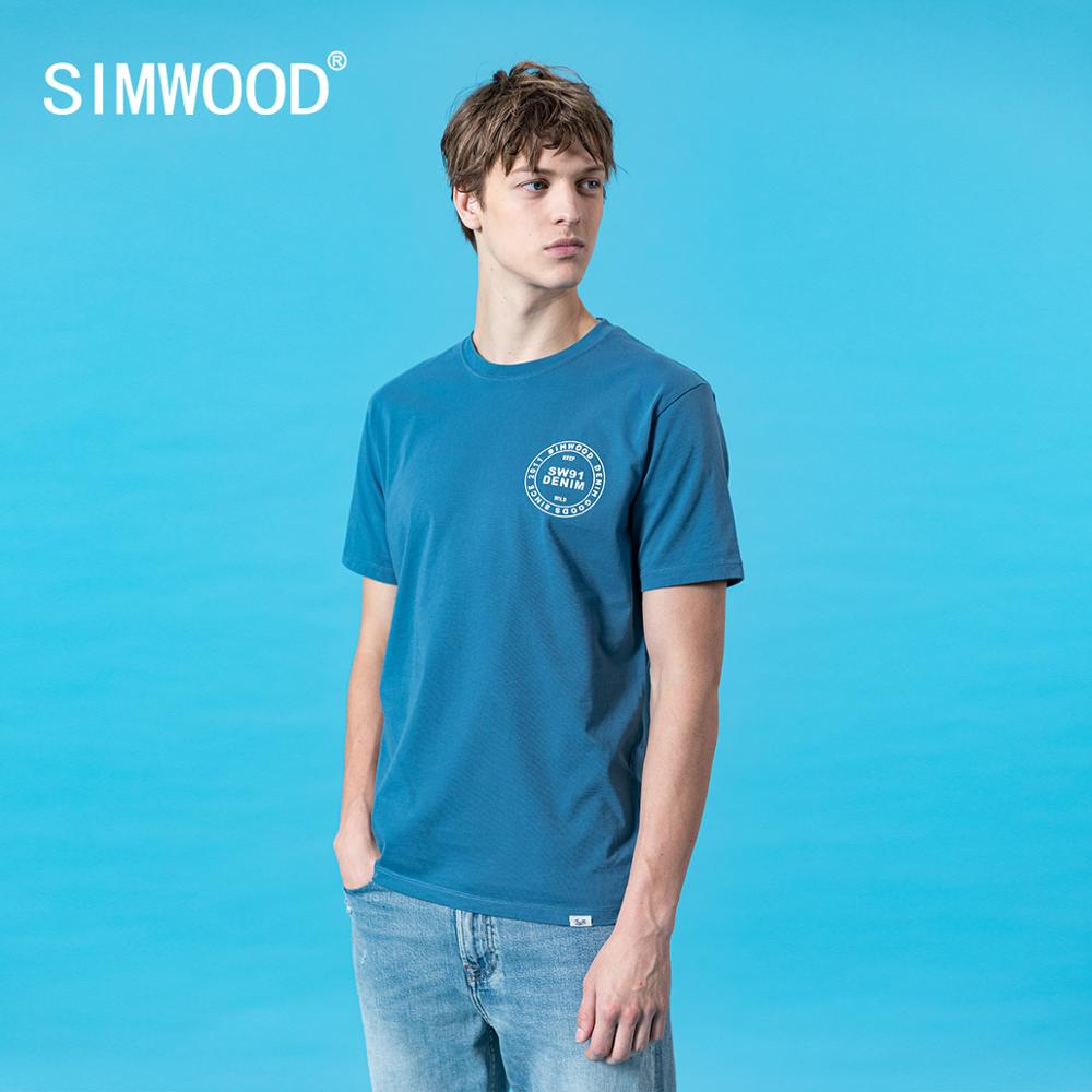 SIMWOOD 2020 Summer New Letter Print T-shirt Men 100% Cotton Plus Size Tops High Quality Brand Clothing Tees SJ120492