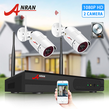 ANRAN 2MP Surveillance System 2CH HD Wireless NVR Kit Security System Outdoor IP Camera System IR Cut IP66 Waterproof APP View