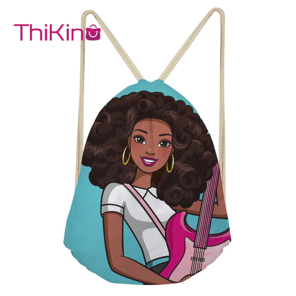 Thikin Pop Black Girl Casual Sack Drawstring Bag For Women Travel Backpack Toddler Softback Lady Beach Mochila DrawString Bag