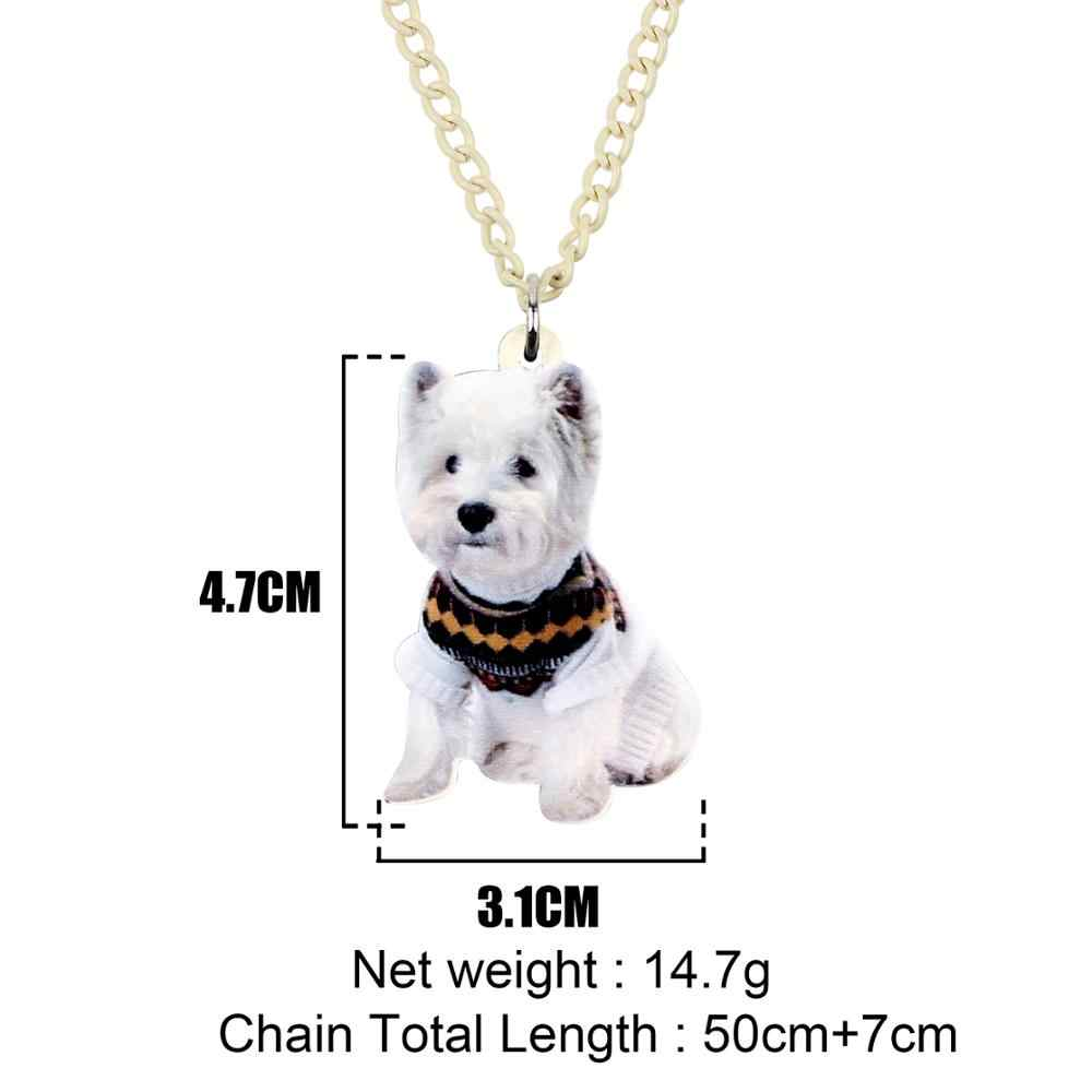 Bonsny Acrílico West Highland White Terrier Dog Colar Pingente Gargantilha Doce Animais Animais de Estimação Jóias Senhora Menina Miúdo 2019 Presente Da Moda
