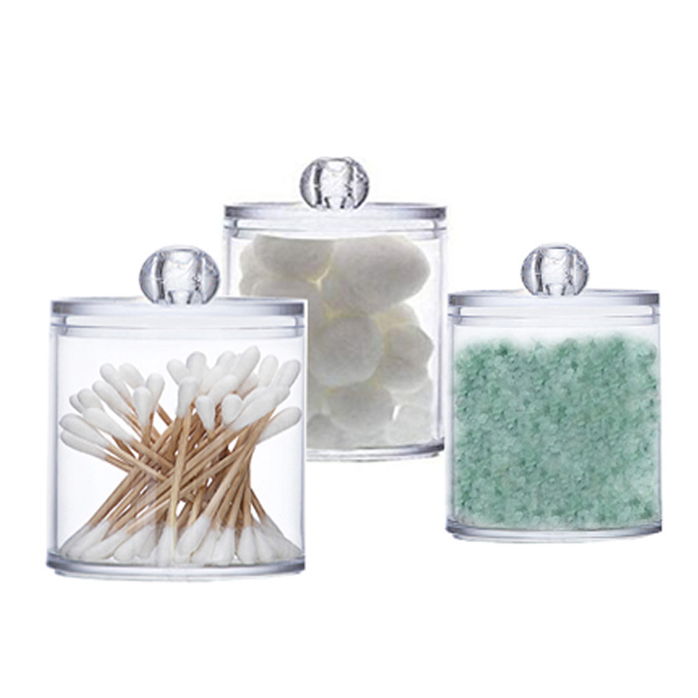 Transparent Cotton Swabs Box Jewelry Storage Box Holder Acrylic Makeup Organizer Round Jars Container Plastic Organizer Box