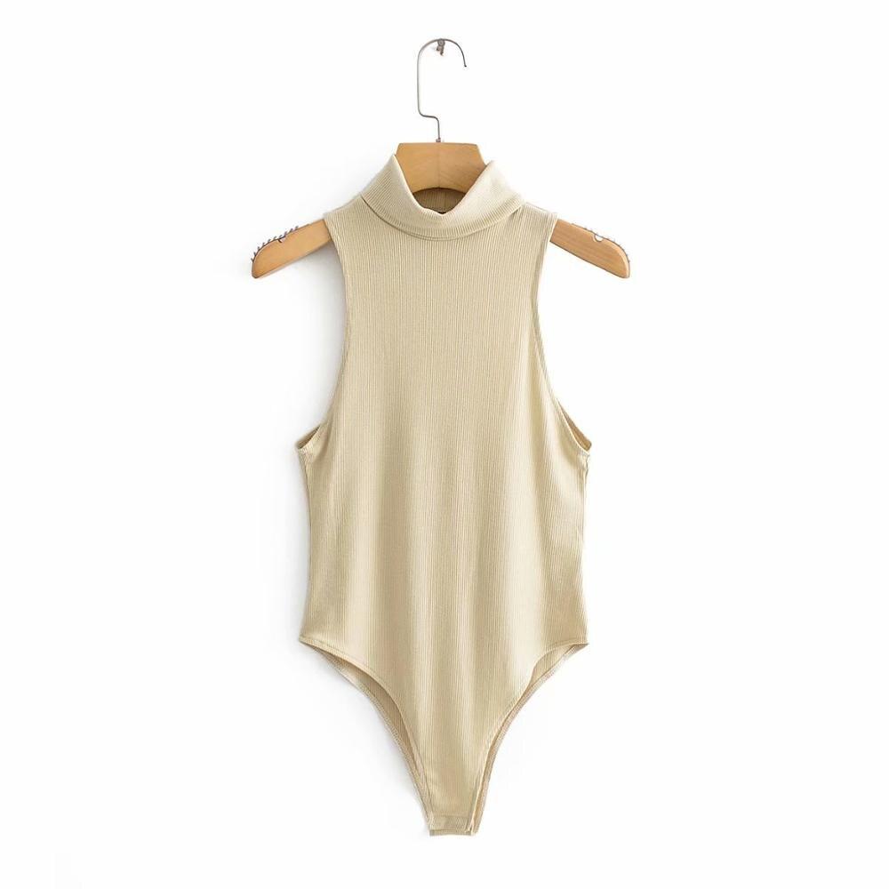 Women Turtleneck Collar Slimming Bodysuit Shirt Women Chic Sleeveless Siamese Blouse Retro Playsuits Femininas Blusas DS3116