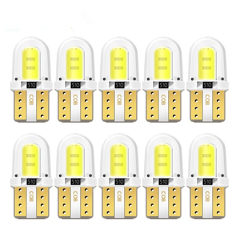 Pcs LED W5W 10 8SMD T10 194 168 W5W COB Levou Estacionamento Lâmpada Auto Lâmpada CANBUS Wedge Clearance Sílica Brilhante branco Lâmpadas Licença