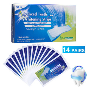 HOT SALE 14 Pcs Advanced Teeth Whitening Strips Stain Removal for Oral Hygiene Clean Double Elastic Dental Bleaching Strip T001