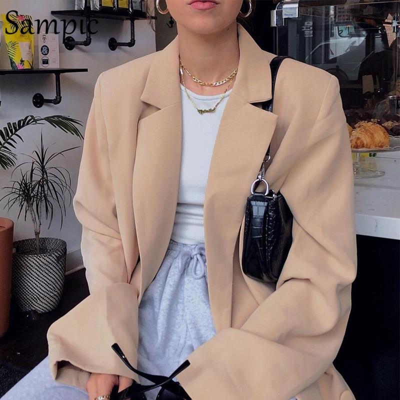 Sampic Woman Casual Loose Autumn Oversized Blazer Dress Jacket Long Sleeve White Long Blazers 2019
