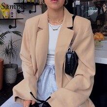 Sampic woman casual loose autumn oversized blazer jacket long sleeve white long