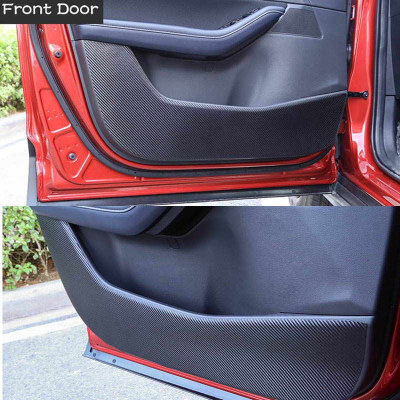 LSJVFK Car Carbon fiber Leather Door Protector Pad,Fit For Mazda CX30 CX-30 2020